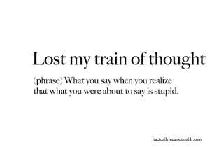 lost my train of thoughts