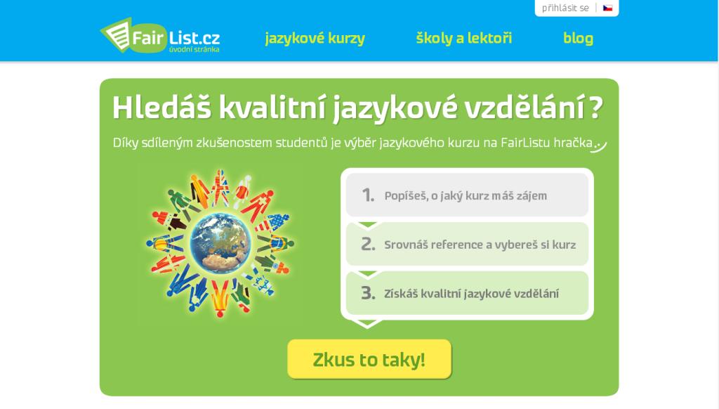 FairList Jazykove kurzy Printscreen